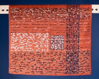 A Kenneth Jay Lane / Vintage / 60s / MCM / Copper / Terracotta / White / Bronze / Black / Abstract / Splatter / Print / Scarf / Gift