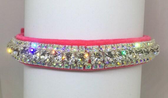 Bling Cutie Pie Pet Collars TM ~Pink Velvet Glow~ Crystal Diamond Diamante Rhinestone Pet Dog Cat VELVET Collar + Free Charm  USA