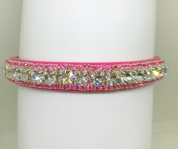 Bling Cutie Pie Pets Collars™ ~ Pink Diamond Bling ~ Crystal Diamante Rhinestone PU Leather Dog Cat SAFETY Collar USA!