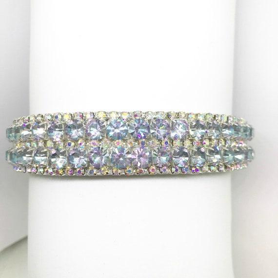 "Cutie Pie Pet Collars TM Rockin' Pastel Purple Pink Blue ~ Wide 3/4""  Silver Crystal Bling Diamante Rhinestone Pet Dog PU Leather Collar USA"