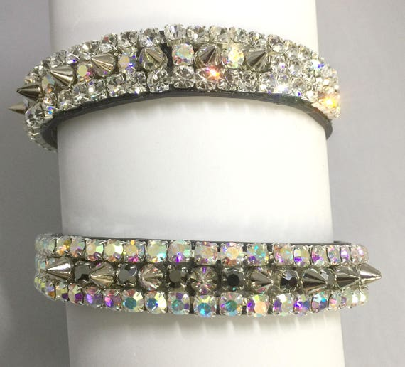 "Cutie Pie Pet Collars TM ~Black Diamond Hematite Aurora Spikes~ Wide 3/4""~Upscale~ Crystal Diamante Rhinestone Pet Dog PU Leather Collar USA"