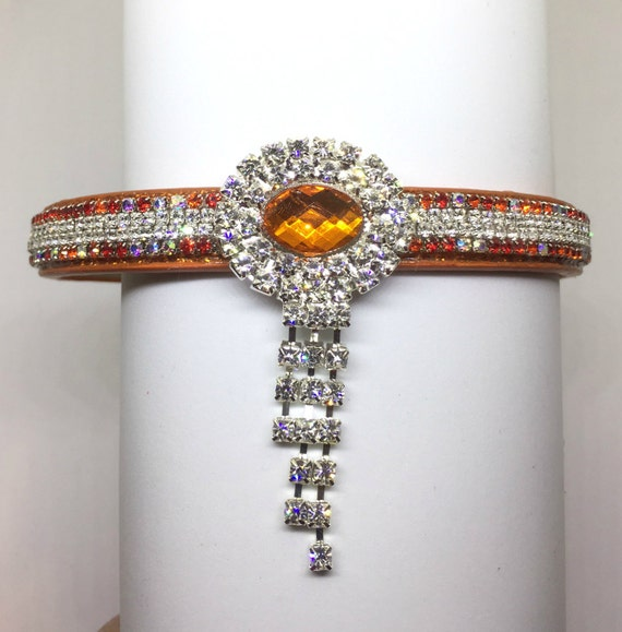 Bling Cutie Pie Pet Collars TM ~Orange Diamond Evening Necklace~ Crystal Diamante Rhinestone Pet Dog Cat Collar USA