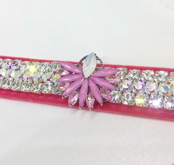 "Bling Wide 1"" Pink Velvet ~ Pink Diva ~ Diamonds & Aurora~ Crystal Rhinestone Dog Pet Collar + Free Paw Charm USA"