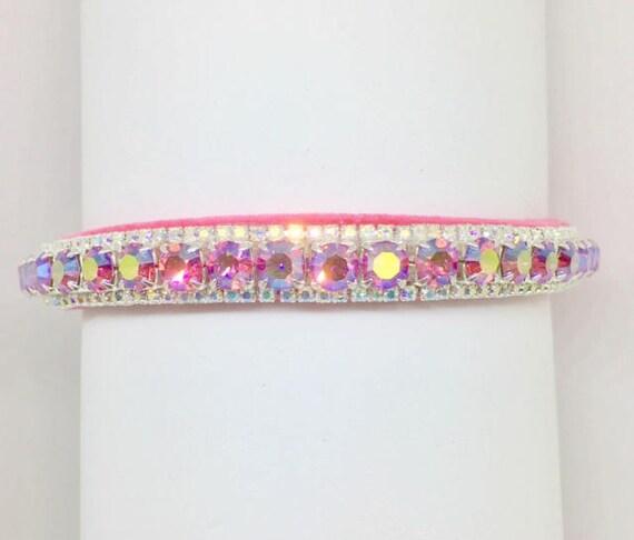 Bling Cutie Pie Pet Collars TM ~Pink Fire & Rainbow~ Crystal Diamond Diamante Rhinestone Pet Dog Cat VELVET Collar + Free Charm  USA