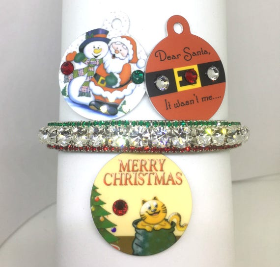 Bling Cutie Pie Pet Collars TM ~Christmas Diamonds~ Red Green  Rhinestone Pet Dog Cat  Collar + Free ID Tag USA