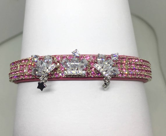 Bling Cutie Pie Pet Collars TM ~Triple Diamond Crown Star Princess~ UPSCALE Crystal Diamante Rhinestone Pet Dog Cat Collar USA
