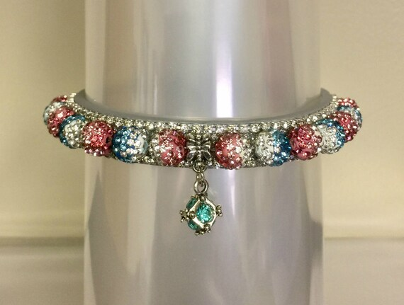 Bling Cutie Pie Pet Collars TM ~Aqua Pink Pastel Fade Disco Ball~ Crystal Diamante Rhinestone Pet Dog Cat PU Leather Collar USA