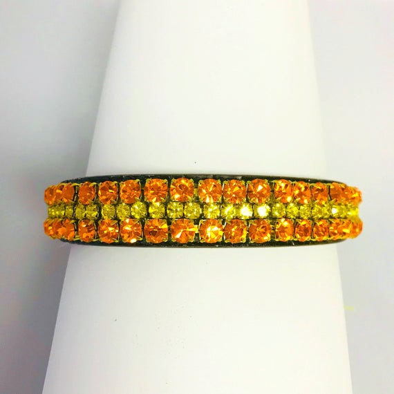 "Cutie Pie Pet Collars TM ~Rockin' Orange & Citrine Yellow Wide 3/4"" Upscale Crystal Bling Diamante Rhinestone Pet Dog PU Leather Collar USA"
