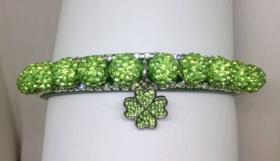 Bling Cutie Pie Pet Collars TM ~Green Shamrock Irish Disco Ball~ Crystal Diamante Rhinestone Pet Dog Cat PU Leather Collar USA