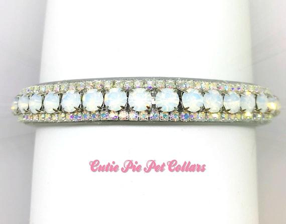 Bling Cutie Pie Pets Collars™ Opal Aurora Glow~ Crystal Diamante Rhinestone Vegan Leather Dog or Cat Safety Collar USA