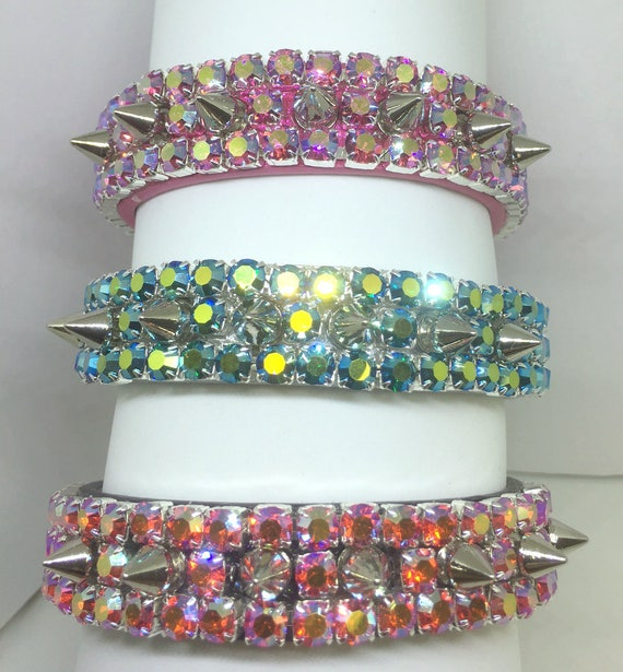 Bling Cutie Pie Pet Collars ® ~Heavenly Emerald, Pink, Orange Aurora Diamond Spikes~Wide PU Leather Dog Pet Collar USA