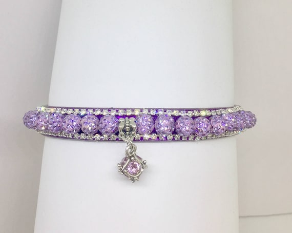 Bling Cutie Pie Pet Collars TM ~Lavender Purple Disco Ball~ Crystal Diamante Rhinestone Pet Dog Cat PU Leather Collar USA