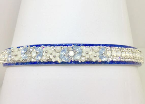 Bling Cutie Pie Pet Collars TM ~Baby Blue Pearl Flowers~ UPSCALE Crystal Diamante Rhinestone Pet Dog Cat Collar USA