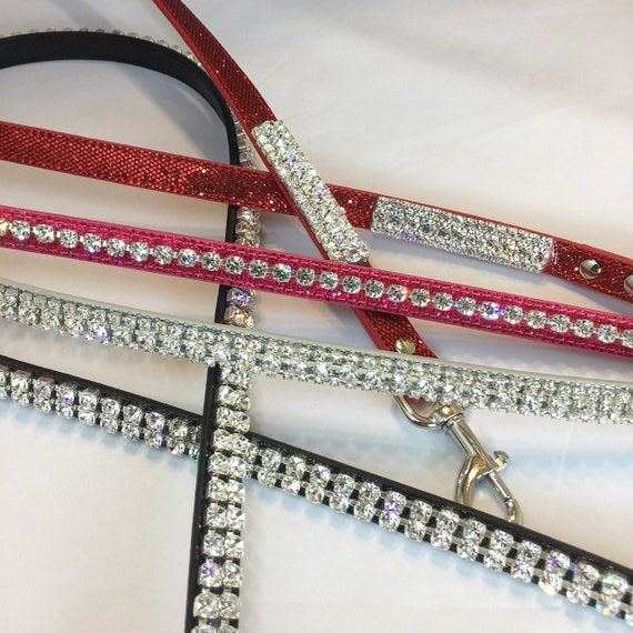 Bling Cutie Pie Pets Gorgeous 4' Crystal Rhinestone Dog Collar Leashes, Red, Green, Black, Silver, Pink, Black, or Purple USA
