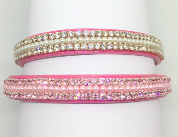 Bling Cutie Pie Pets Collars™ Pink Topaz or Diamond Pearls~ Crystal Diamante Rhinestone PU Leather Dog Cat SAFETY Collar USA!