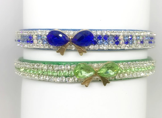 Bling Cutie Pie Pets Collars™ ~Mon Petite Bow Sapphire Blue or Peridot Green Crystal Rhinestone Vegan Leather Dog or Cat Safety Collar USA