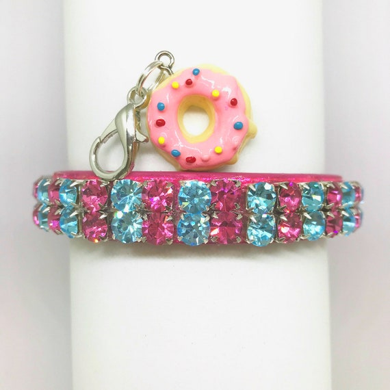 Bling Cutie Pie Pets Collars™ ~ Pink & Aqua Icing Donuts~  Crystal Diamante Rhinestone PU Leather Dog Cat SAFETY Collar USA!