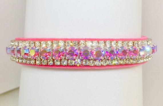 "Bling Cutie Pie Pet Collars TM ~Aurora Pink Star~ 5/8"" Crystal Diamond Diamante Rhinestone Pet Dog Cat VELVET Collar + Free Charm  USA"