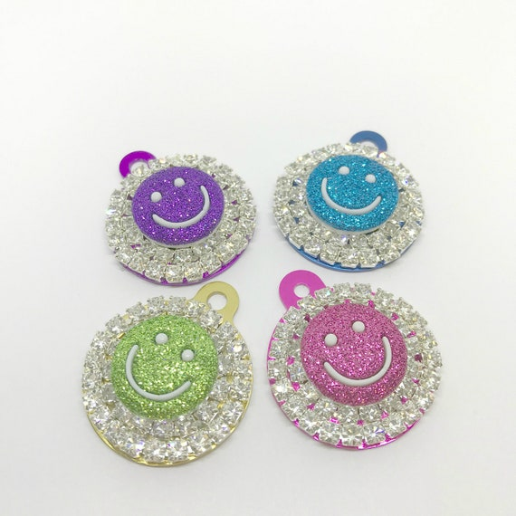 Bling Engraved Crystal Rhinestone Dog Cat Pet Smiley Face Pink Aqua Peridot Purple Round ID Engraveable Tag Charm for Collar, 5 Fonts- USA