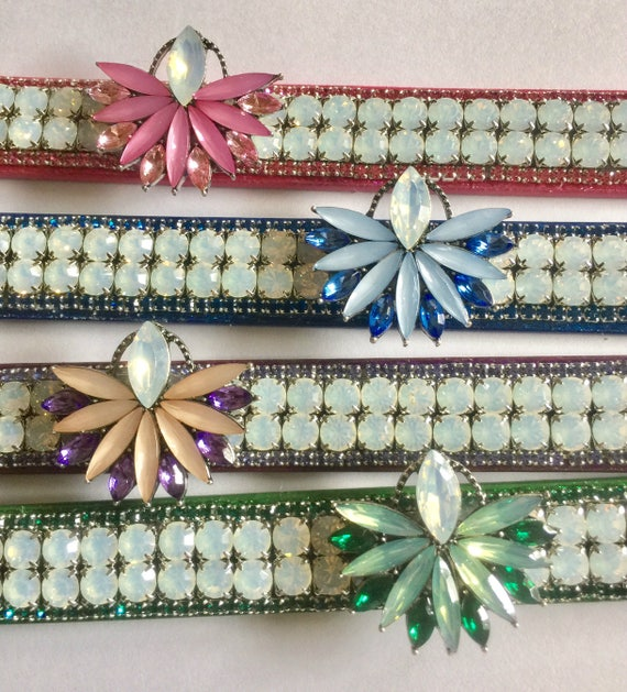 "Bling Cutie Pie Pet Collars TM ~Opal Iridescent Glow~ Red, Green, Purple, or Pink Wide 3/4"" Crystal Rhinestone Pet Dog PU Leather Collar USA"
