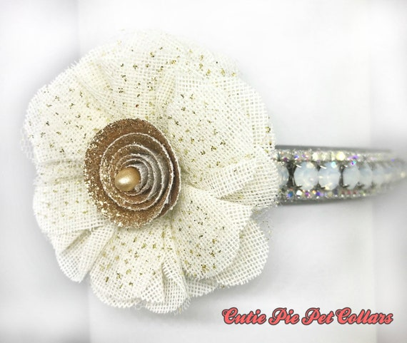 Bling Cutie Pie Pets Collars™ Rose Gold Sparkle Flower Bow~ Crystal Diamante Rhinestone Vegan Leather Dog or Cat Safety Collar USA