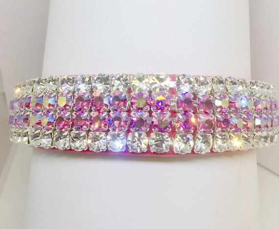 "Bling Wide 1"" Pink Velvet ~Aurora Glow~ Crystal Rhinestone Dog Pet Collar + Free Paw Charm USA"