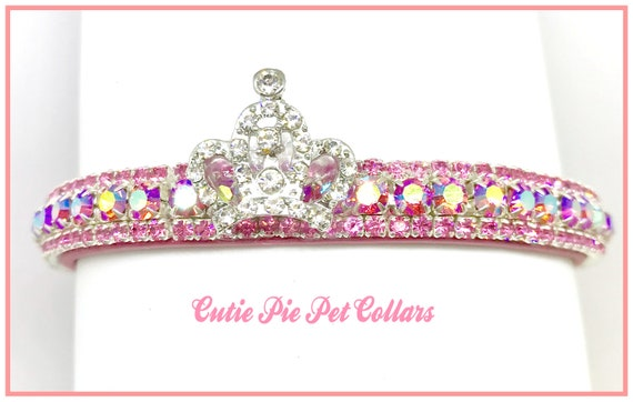 Bling Cutie Pie Pets Collars™ Pink Aurora AB Princess Crown~ Crystal Diamante Rhinestone Vegan Leather Dog or Cat Safety Collar USA