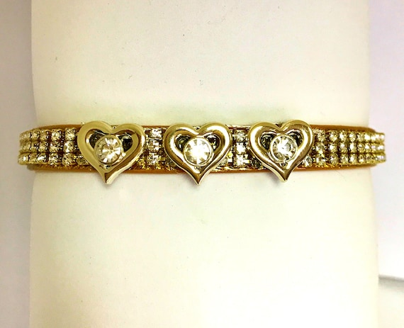 Bling Cutie Pie Pet Collars TM ~Golden Valentine Hearts ~ Diamante Bling Crystal Rhinestone Pet Dog Cat Collar USA