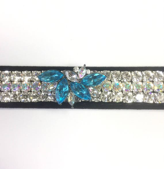 "Bling Wide 1"" Black Velvet ~Aqua Diva ~ Diamonds & Aurora~ Crystal Rhinestone Dog Pet Collar + Free Paw Charm USA"