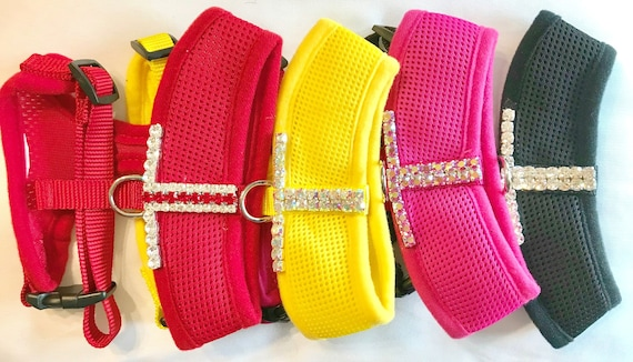 Bling Eye Popping Bling ~ Crystal Rhinestone Dog Cat Pet Harness, Color Choice Yellow, Red, Pink, or Black USA