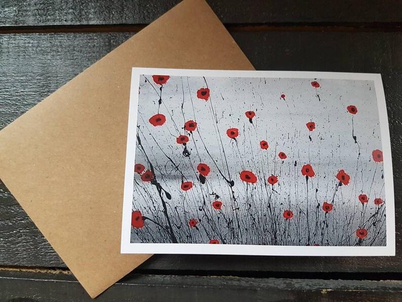 Blank Greeting Card Artwork Poppies Mono Black And White