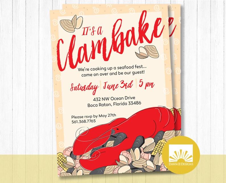 Clambake Invitation Seafood Boil Invite Digital Printable