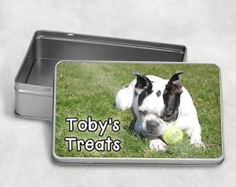 Metal TIN box personalised, Biscuit tin, Sweets tin, Dog Treats tin, Pet gift, Pet treats tin