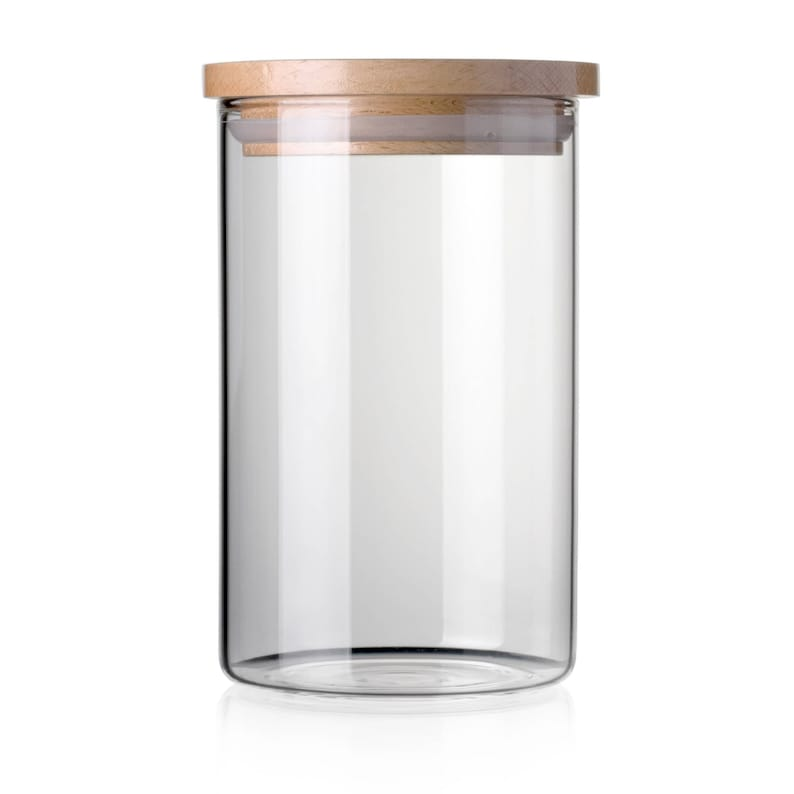 9f3737efee8d STACK UP Transparent Food Storage Canister - Safe Clear Borosilicate Glass  Jar with Wooden Lid - Container for Kitchen Organization