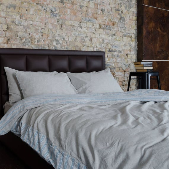 Soft Fabric Washed European Flax Linen Blend Duvet Cover Set Brown Striped