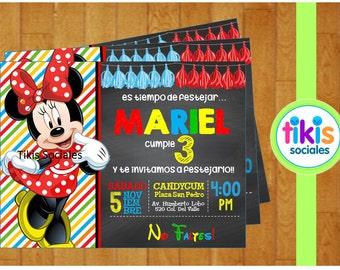 Minnie Mouse Invitation, Red Minnie, Printable