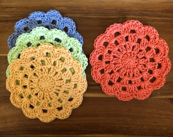 Cotton Coaster Set, Crocheted Coaster Set, Jumbo Coasters, Handmade Coaster Set
