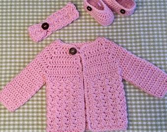 Handmade Crochet Newborn Baby Girl Sweater Set