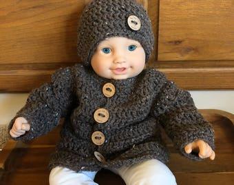 Handmade Baby Sweater Set, Crocheted Baby Sweater and Beanie, Baby Shower Gift, Brown Baby Sweater Set, Baby Cardigan