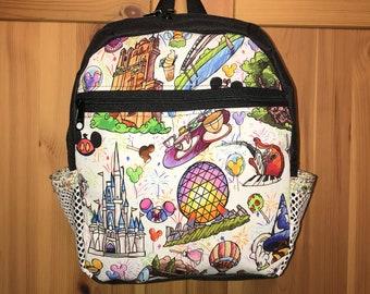 a101bcbd65 New handmade Disney parks sketched design nylon mini backpack park hopper  bag