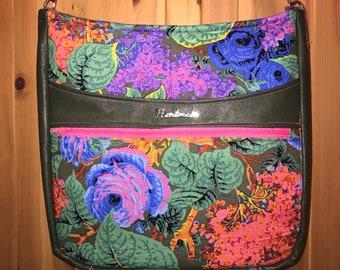 Handmade bright floral green faux leather crossbody shoulder purse bag