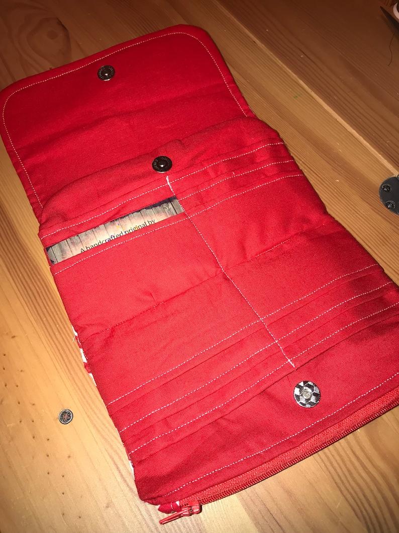 New handmade red white chevron zigzag pattern flip clutch wallet