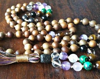 Protection Mala Beads, Tassel Wife Gift, Protection Mala Gift, Protection Yoga Beads, Knotted Japa Mala, Chakra Healing Mala, 108 Mala Beads