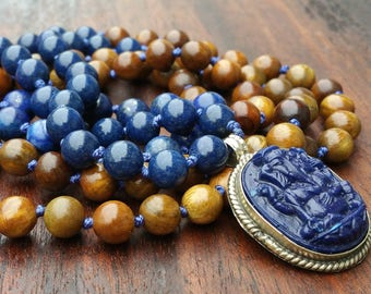 108 Mala Gift, Blue Mala 108, Ganesh Pendant Mala, September Birthstone, Throat Chakra, Sapphire and Sandalwood, Gift for Husband, Dad Gift