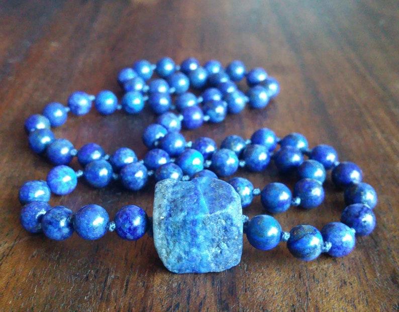 Large Raw Lapis Lazuli Rock Beaded Necklace, December Birthstone  Sagittarius Gift, Blue Green Prayer Beads, Throat Chakra Healing Mala Gift
