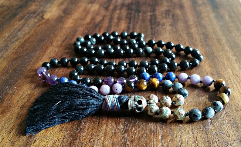 83eb59248 Obsidian Protection 108 Mala Bead Necklace with Skull Guru | Etsy