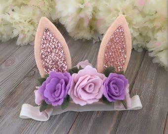 Bunny ears floral headband