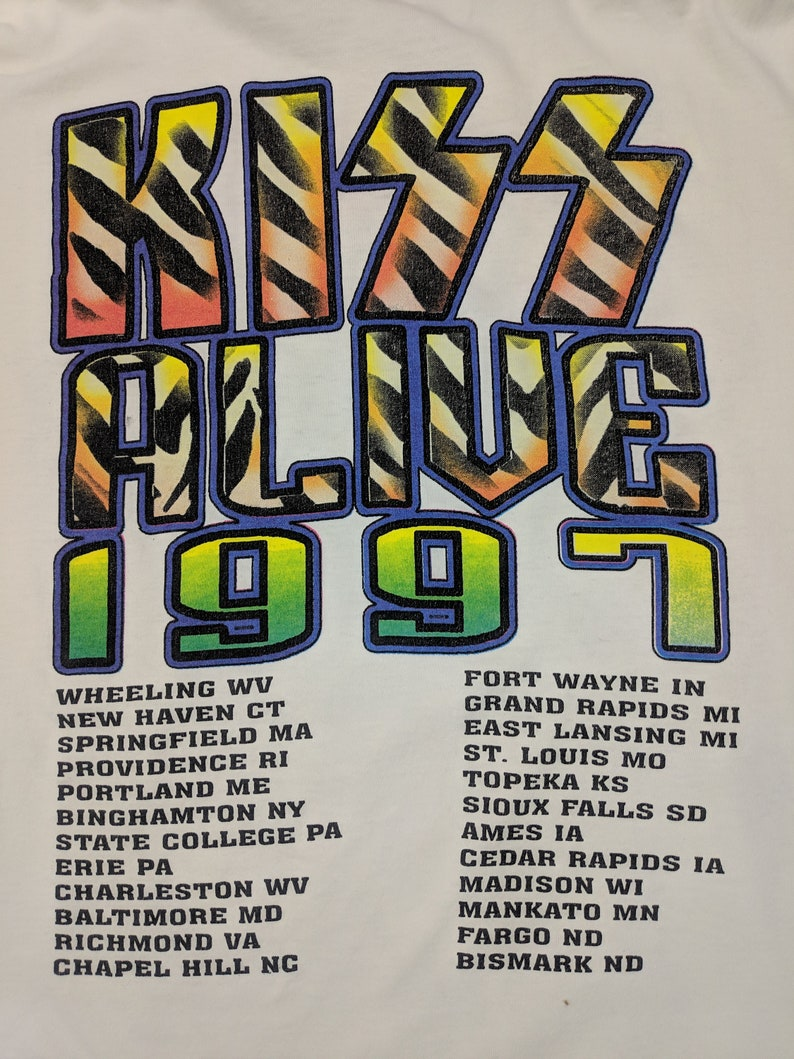 Vintage Kiss T shirt XL L 90s Alive Tour 1997 Rock Metal White Tee Gene Simmons