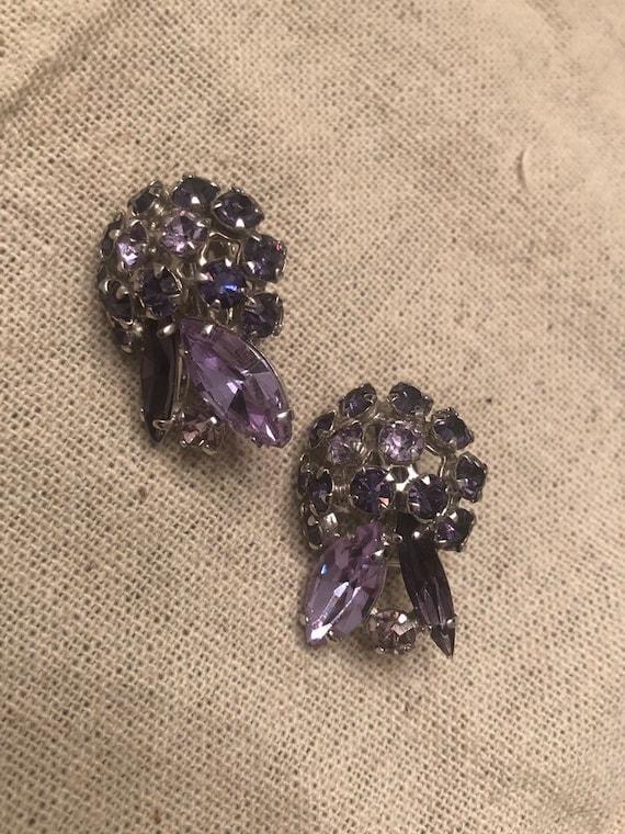 Vintage Sherman Lavender Firework Earrings