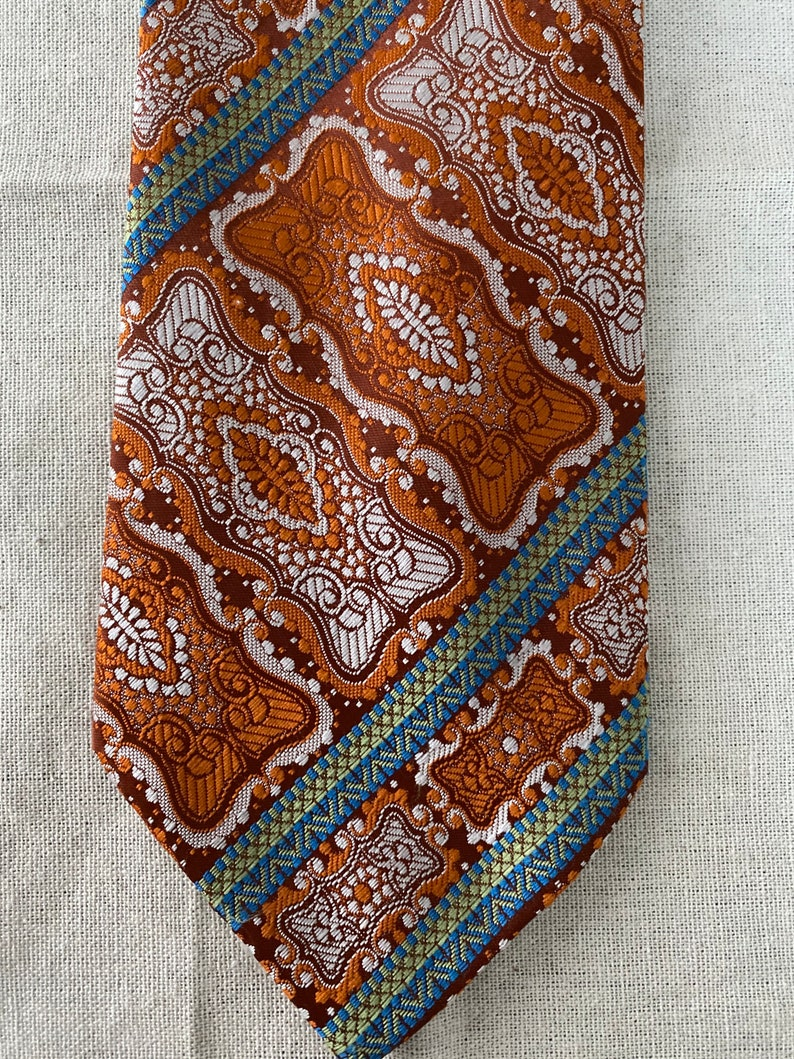 Vintage Paul Bri Orange Abstract Damask Jacquard Wide Necktie